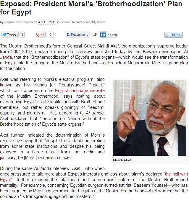 brotherhoodization of egypt 4.4.2013