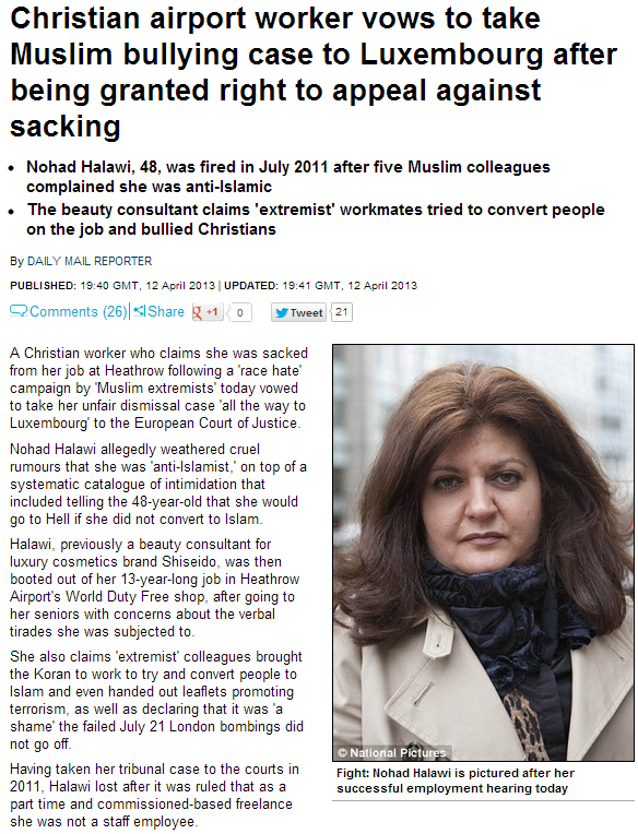christian woman wins case against bullying muslim workers at airport 13.4.2013