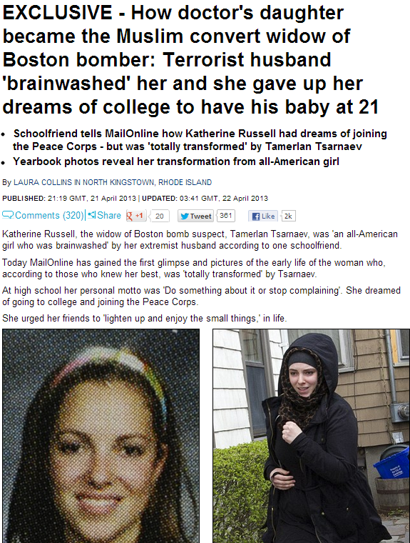 dead boston bomber's wife brainswashed 22.4.2013