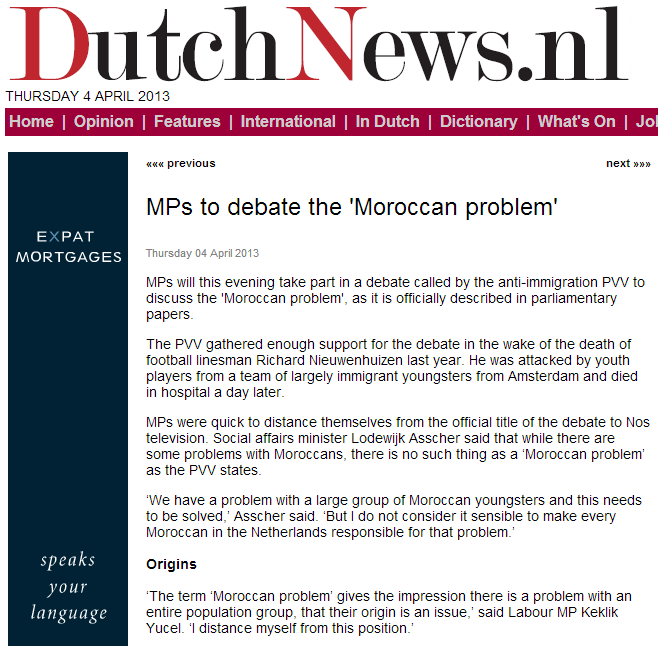dutch mp to discuss moroccan problem 4.4.2013