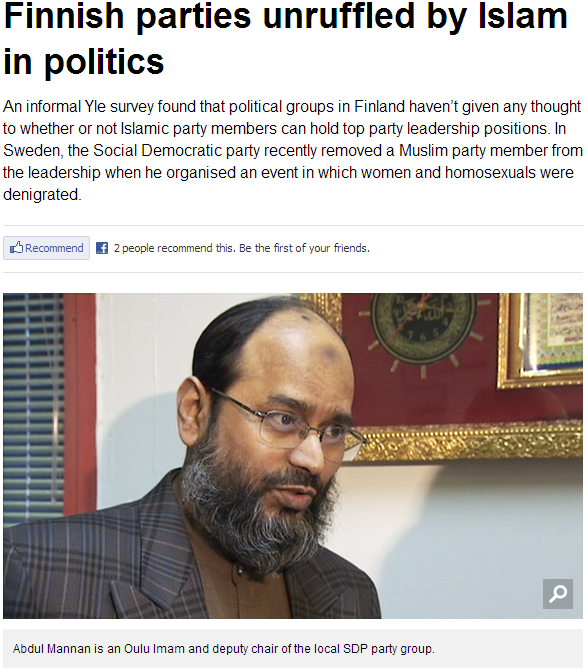finnish parties unruffled by islam in politics 25.4.2013