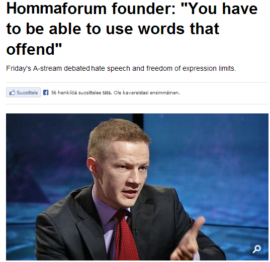 hommaforum founder right to offend 27.4.2013