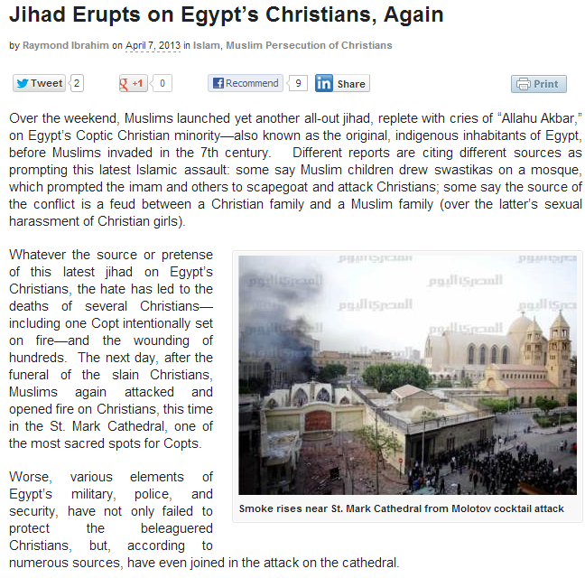 jihad erupts on copts in egypt again 8.4.2013