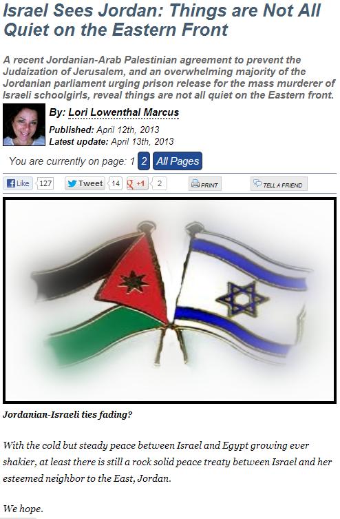 jordan israeli peace in jeopardy 14.4.2013