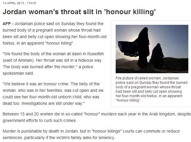 jordanian honor murder slit throat and womb split open 15.4.2013
