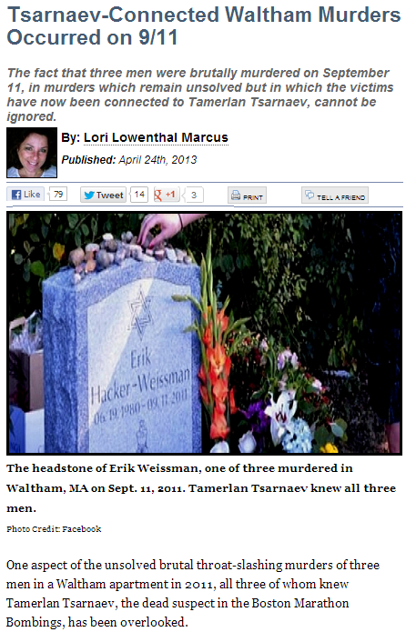 lori lowenthal-marcus tsarnaev knew all three murdered jews 25.4.2013