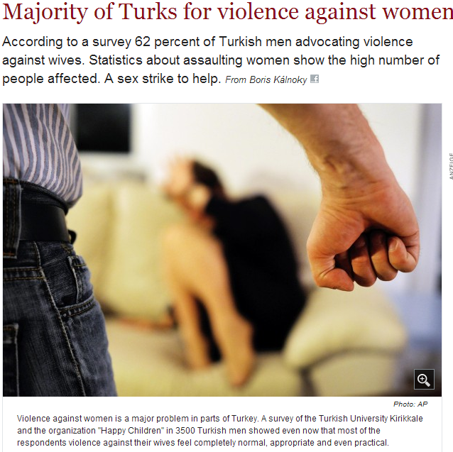 majority of turks favor beating their wives 28.4.2013