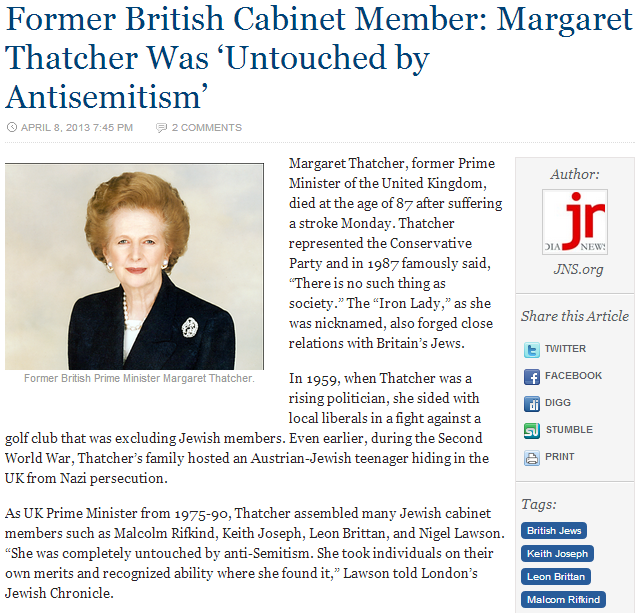 margret thatcher quartered no anti-semitism 9.4.2013