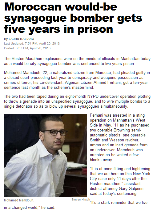moroccan sentenced for five years in prison for terror 26.4.2013