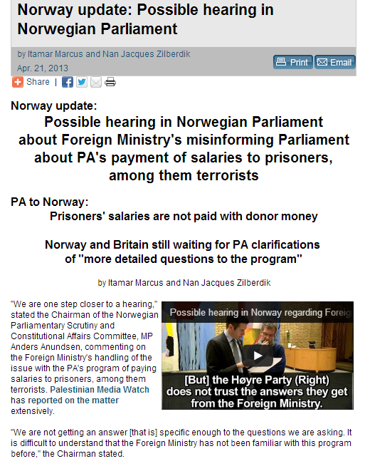 norway possibly to allow hearing on fm misinforming parliament on funfin terrorists 22.4.2013