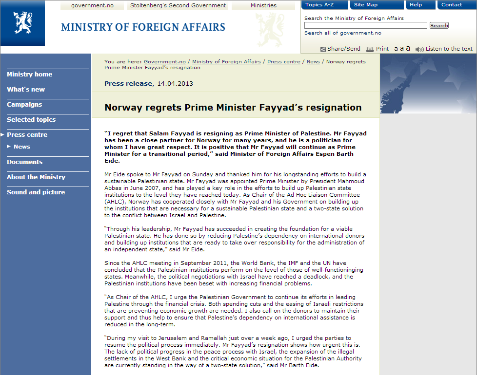 norway regrets deaprture of PA PM fayyad 14.4.2013