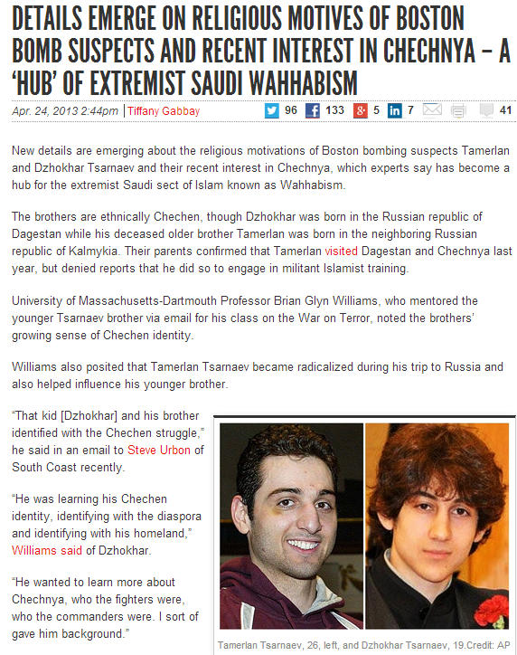 saudi-chechen connection in boston jihadi bombings 25.4.2013