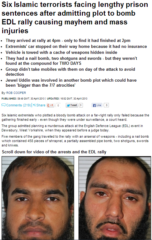 sic muslims fazce lenghty sentences for plotting attack on EDL 30.1.2013