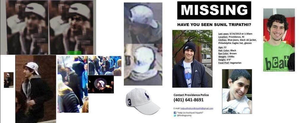 sunil tripathi bosotn bombing suspect 19.4.2013