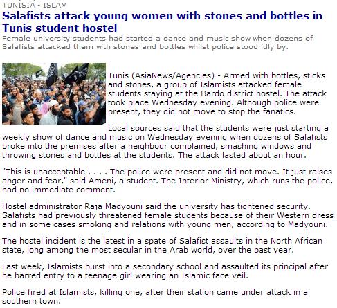 tunisia salafists attack women 21.4.2013