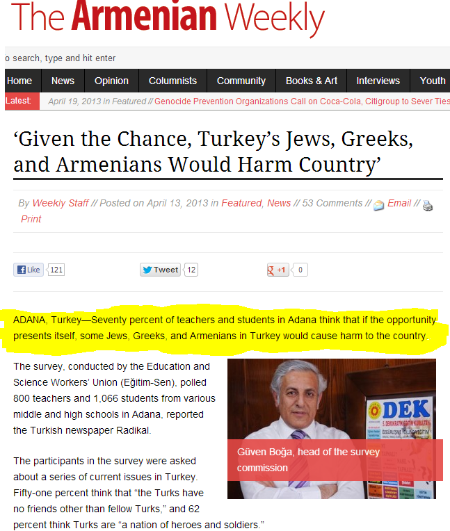turk poll says 7o percent of teachers and students deem jews greeks armenians as bad 22.4.2013