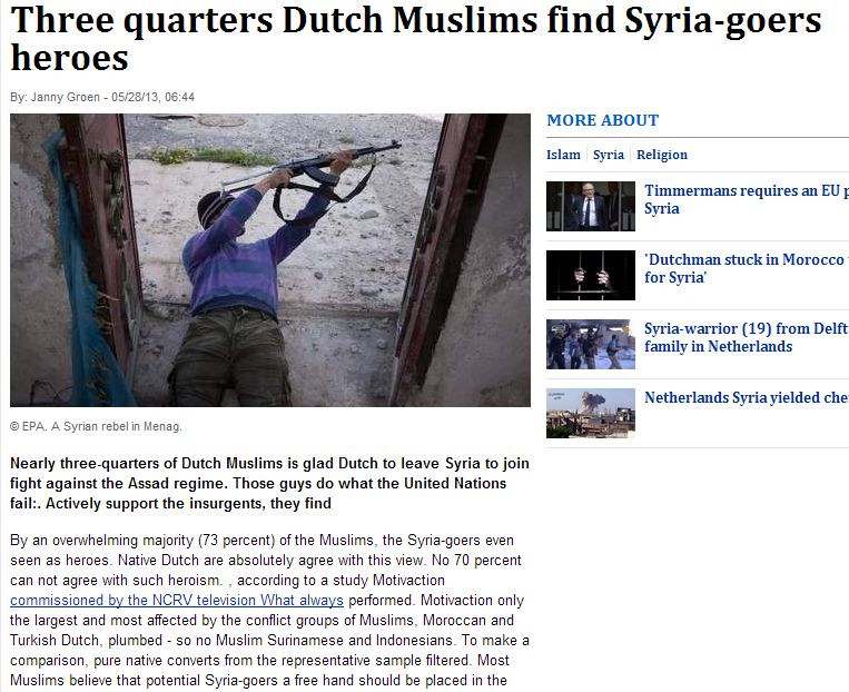75 percent dutch muslims think jihadis as heroes 30.5.2013