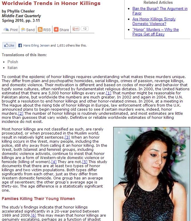 91 percent of honor killings happen in the muslim world