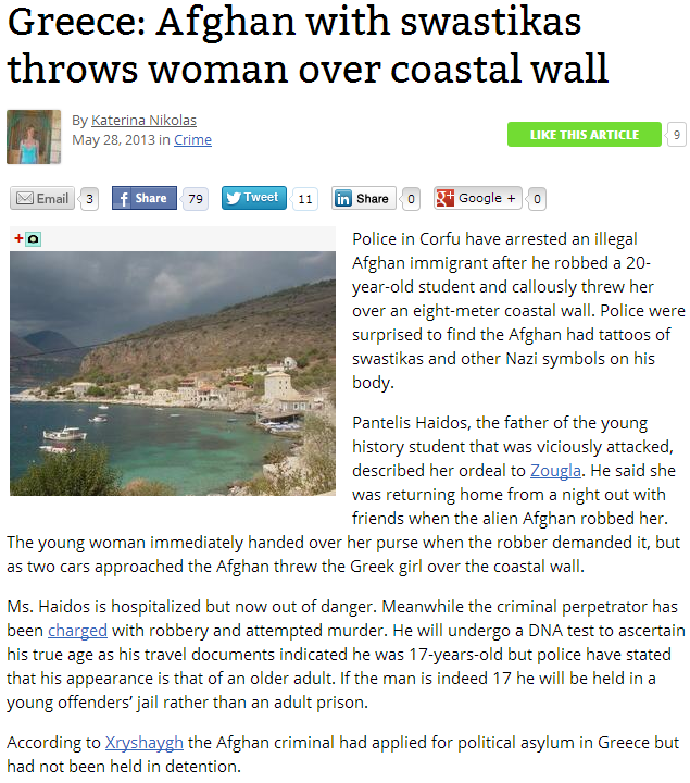AFGHAN TATTOED WITH SWASTIKAS TOSSES WOMAN OFF OF SEA WALL 30.5.2013