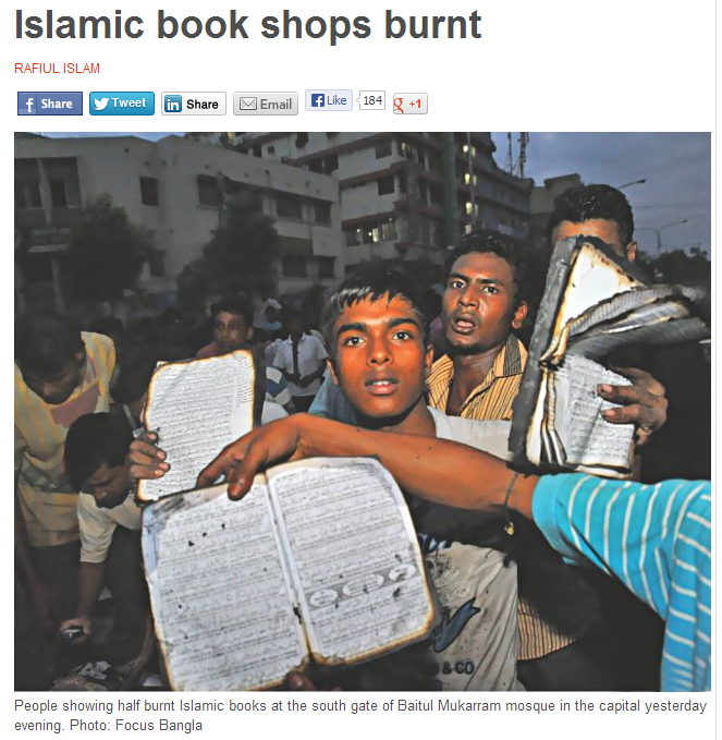 Bangladesh islamic bookstore burnt 6.5.2013