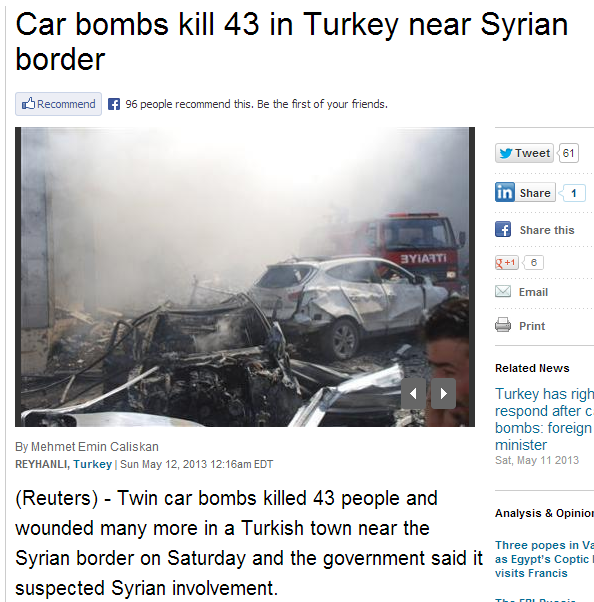 CAR BOMB KILLS 43 TURKS ON BORDER WITH SYRIA 12.5.2013
