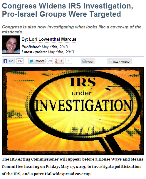 CONGRESS WIDENS INVESTIGATION 16.5.2013