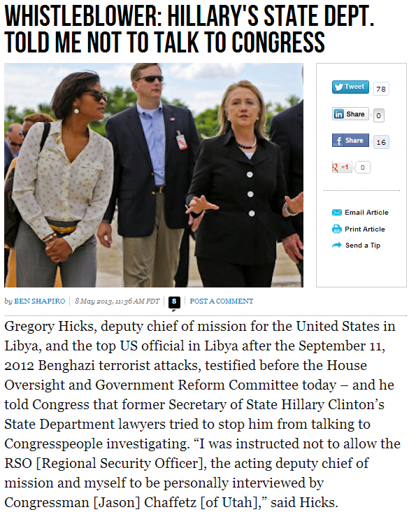 Hillary state dept told whistle blower not to talk to congress 8.5.2013