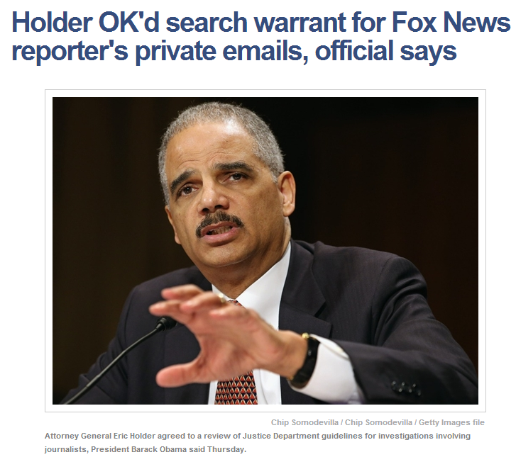 Holder ok'd search of fox reporters emails 24.5.2013