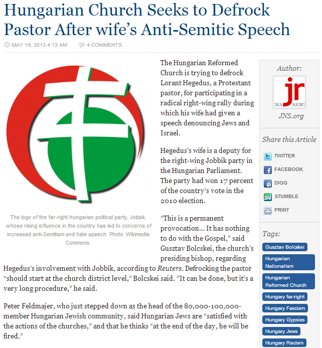 Hungarian jobbik pastrs wife denounces Jews and Israel church seeks to defrock her husband 20.5.2013