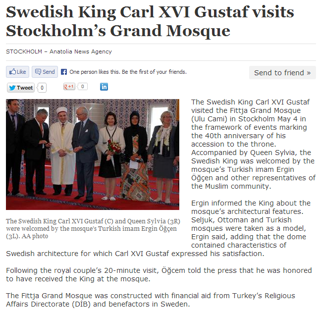 Swedish royals visit mosque queen and consort without hijab 8.5.2013