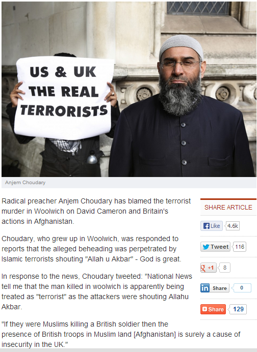 anjem choudary says murder of soldier uk's fault 24.5.2013
