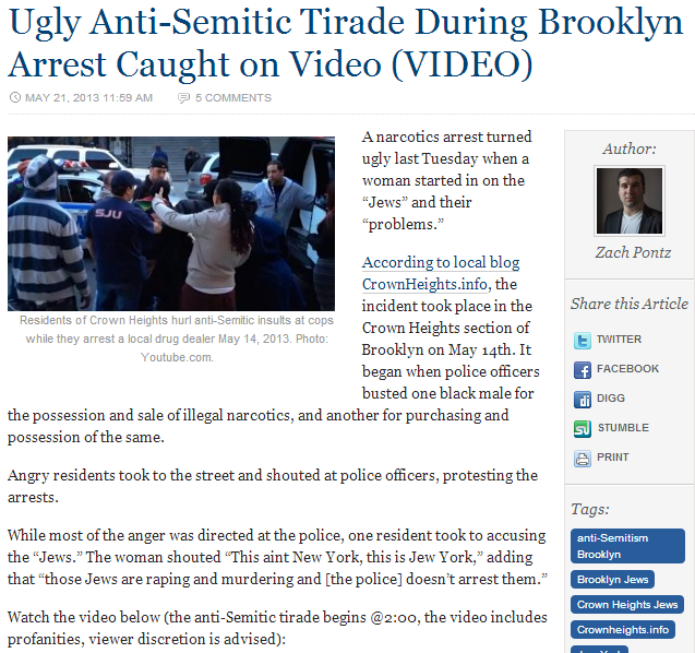 antisemitic tirade in brooklyn arrest 22.5.2013