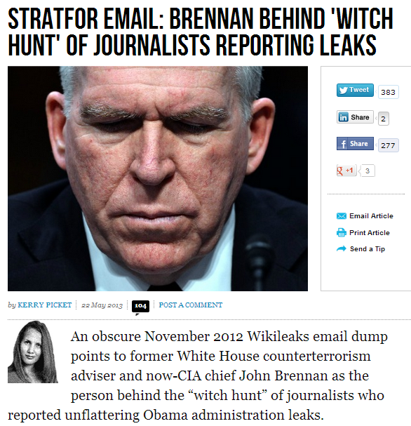 brennan possibly behind withc hunt on journalists reporting obama admin leaks 23.5.2013