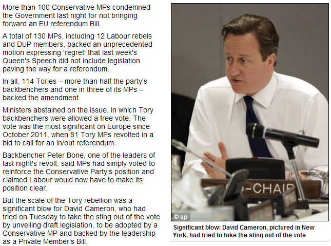 cameron lie over referendum vote draws ire from backbenchers 16.5.2013