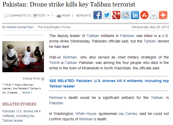 drone kills top taliban in pakistan 1.6.2013
