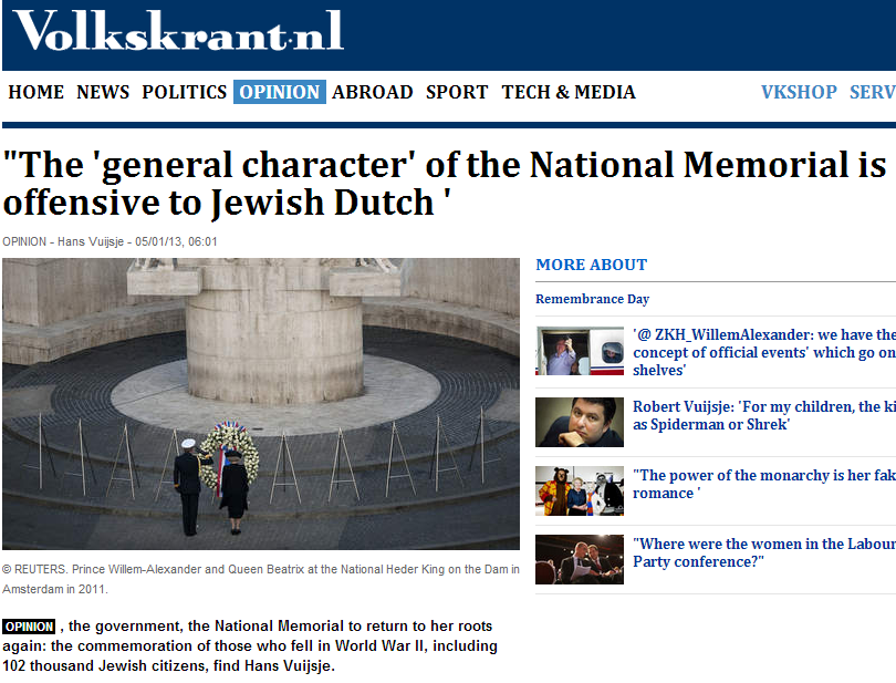 dutch national memeorial offensive to Jews 9.5.2013