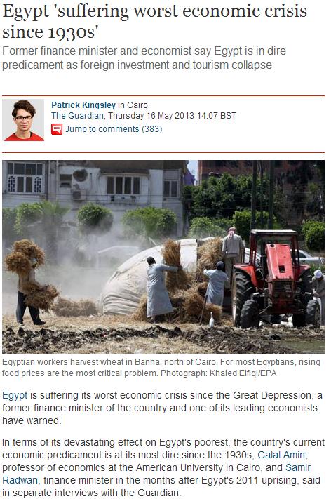egypt in dire economic straits 30.5.2013