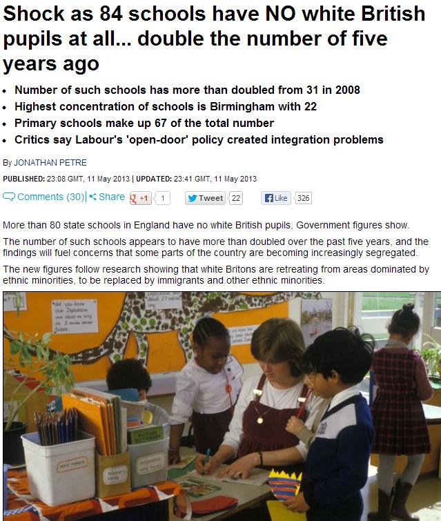 eighty four british schools have no white children 12.5.2013