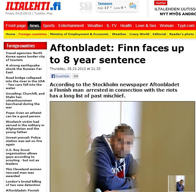 finn arrested in swedish intifada 24.5.2013