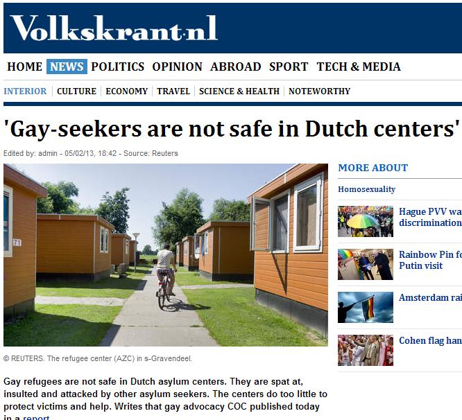 gays spat at in dutch asylum centers 5.5.2013