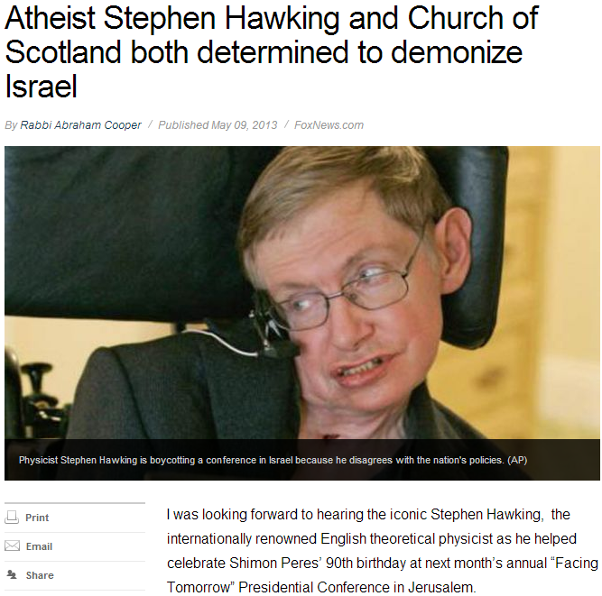 hawking and church of scotland demonizing israel 10.5.2013