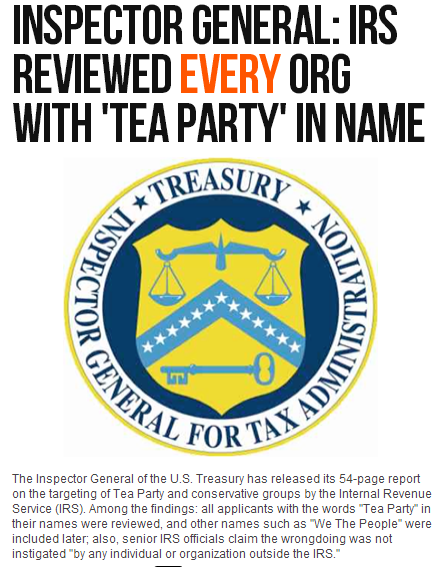 irs reviewed every org with tea party in name 15.5.2013
