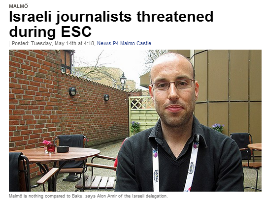 israeli journalists threatened at eu song contest 15.5.2013