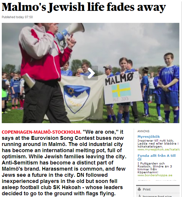 jewish life in Malmo fades away while EU eurovision trumpets we are one in 17.5.2013