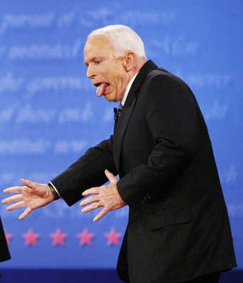 John McCain reacts at the conclusion of the final presidential debate against Barack Obama at Hofstra University in Hempstead