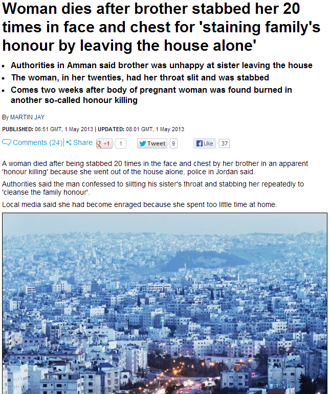 jordanian woman killed in honor murder for leaving home unattended 1.5.2013