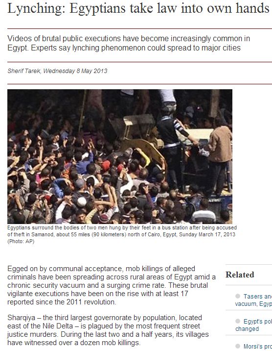 lynching in egypt common affair 14.5.2013