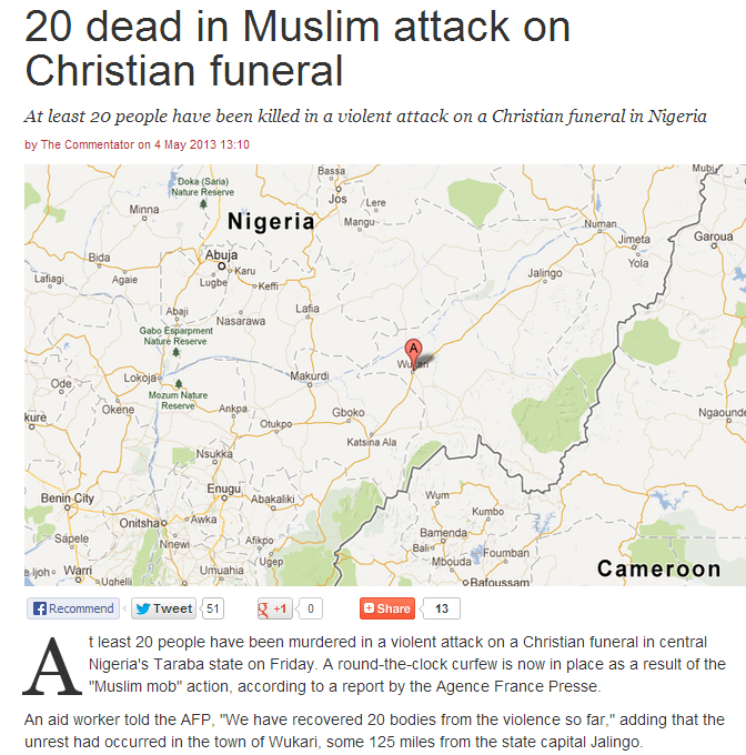 muslim attack on christian funeral leaves 20 dead 4.5.2013