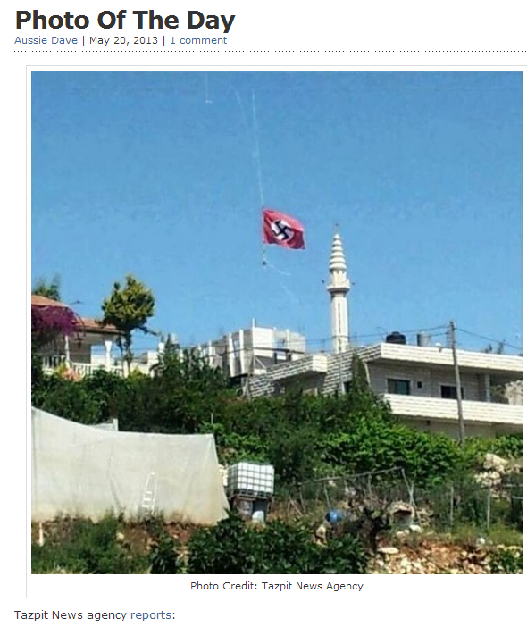 nazi flag flies in arab village in israel 20.5.2013