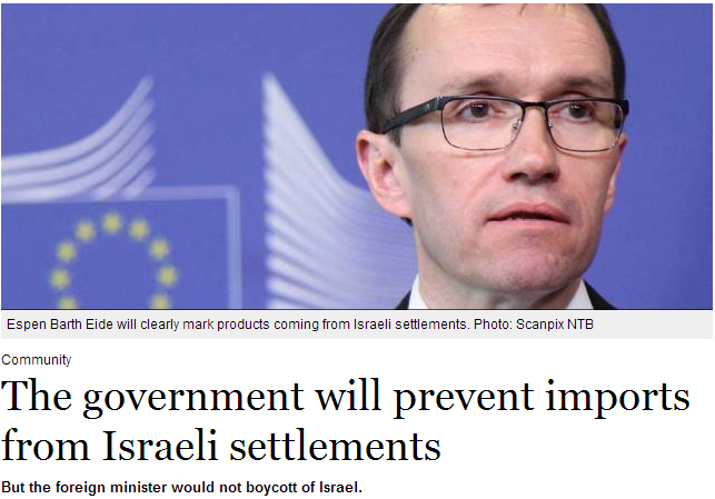 norway will prevent imports from israeli settlements in judea and samaria 5.5.2013